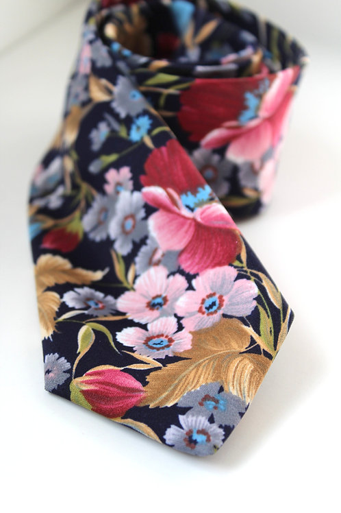 Navy Floral Soft Satin Neck Tie
