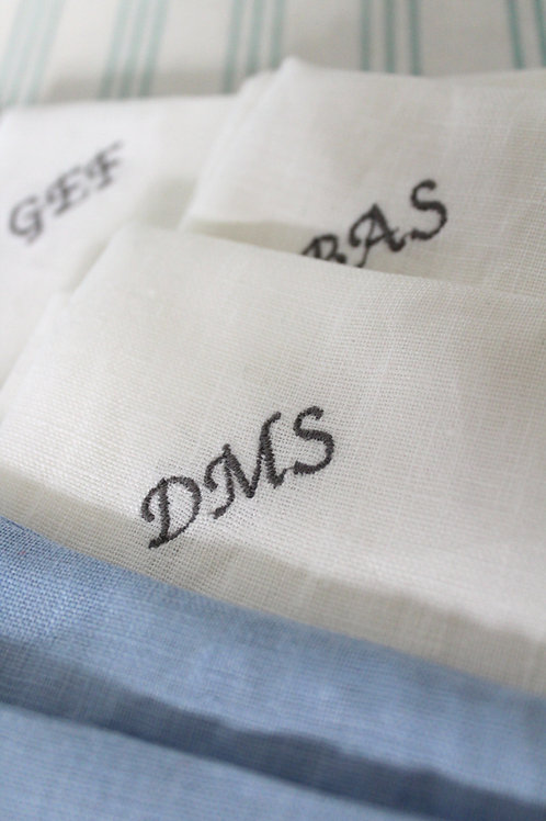 Monogrammed Linen Pocket Square