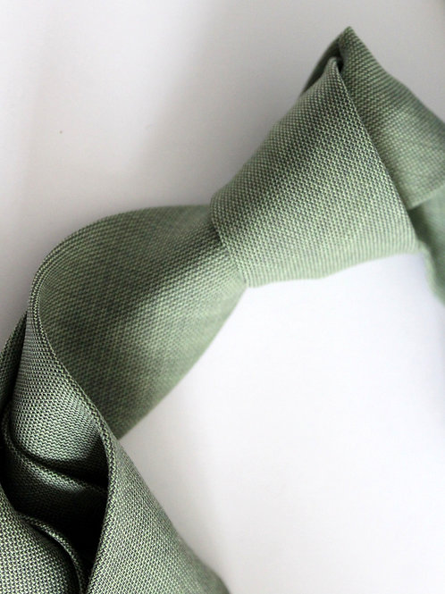 Grain Sage Green Linen Wool Blend Neck Tie