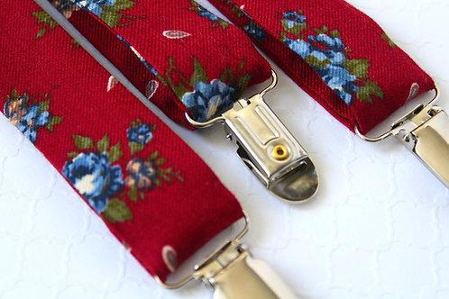 Burgundy Floral Italian fabric Suspenders
