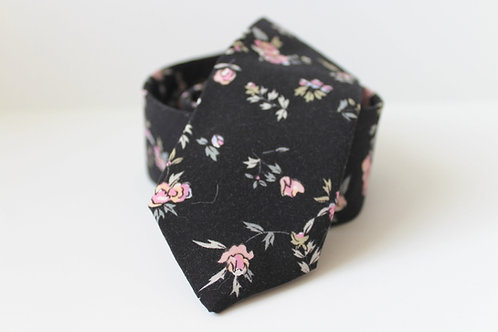 Black and Blush Floral Neck Tie