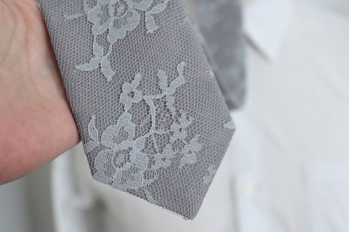 Dusty Blue Lace Neck Tie