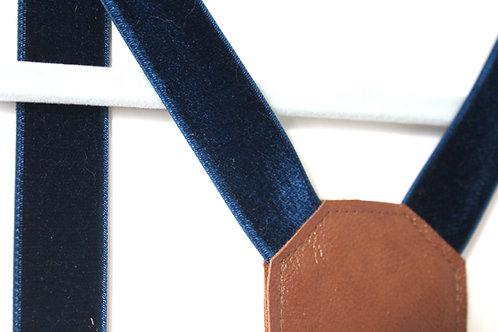 Suspenders-Navy Double Sided Velvet