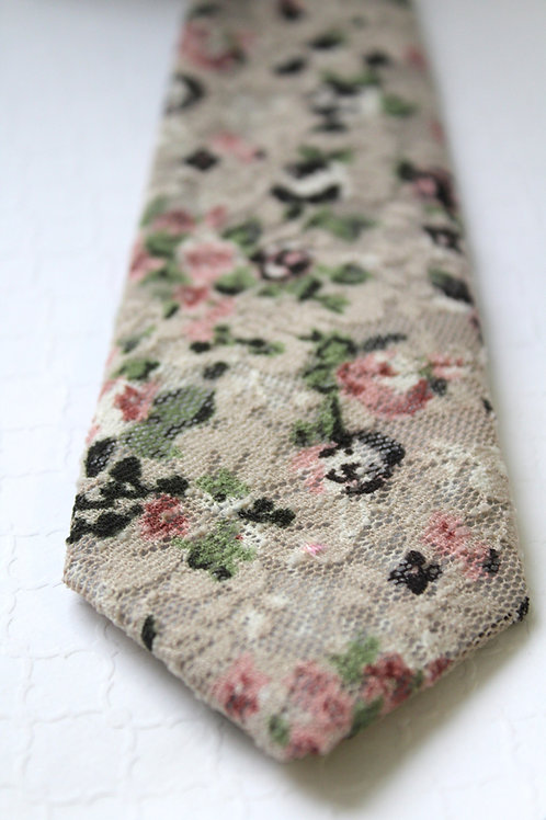 Grey and Blush Floral Lace Neck Tie