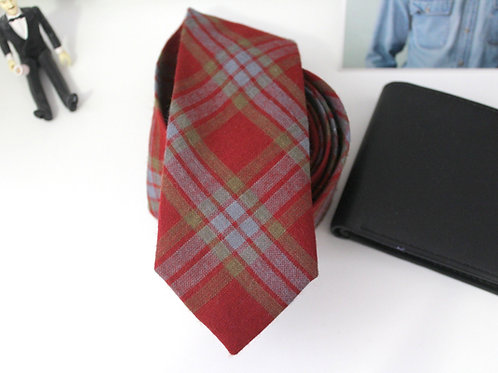 Burnt Orange Wool Plaid Necktie with Maps Lining