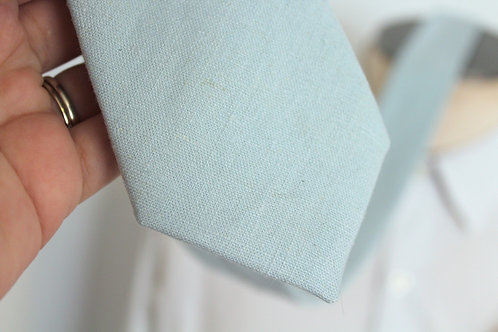 Soft Blue Linen Neck Tie with Cat Lining