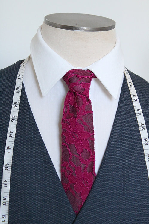 Deep Pink & Plum Lace Overlay Neck Tie