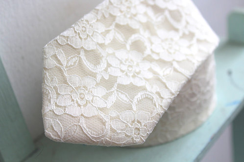 Champagne Ivory Floral Lace Neck Tie