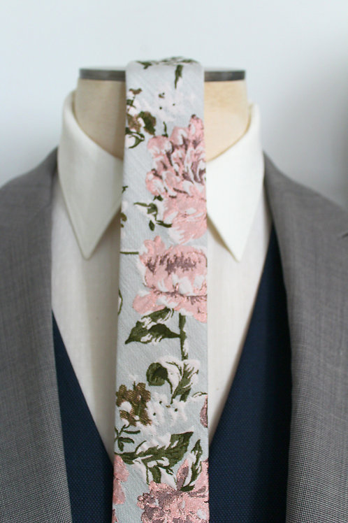 Blush and Grey Floral Jacquard Neck Tie