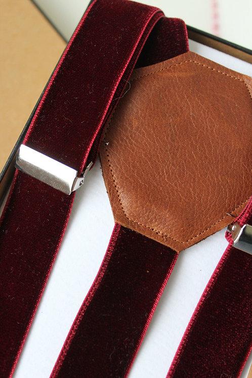 Burgundy Velvet Suspenders
