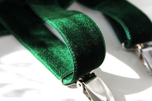 Forest Green Velvet Suspenders