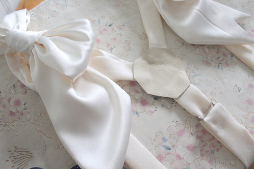 Bridal Suspenders-Satin Ivory Bows