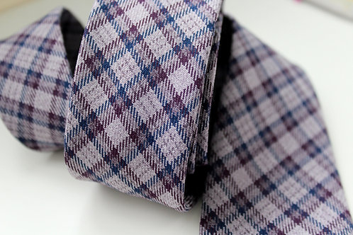 Lavender and Navy Check Wool Blend Neck Tie