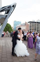 Couple kissing at the Waterhouse Peoria Illinois Reception
