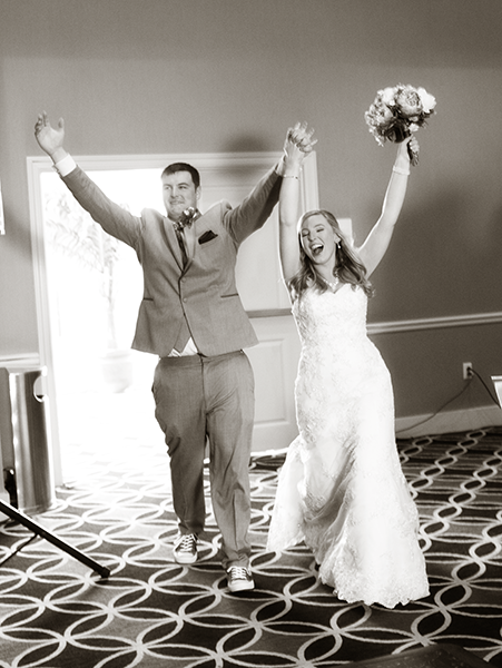 Reception entrance of wedding couple at Holiday Inn and Suites East Peoria, Illinois
