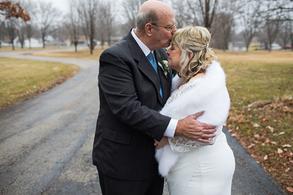 Older Wedding Couple kissing in Bartonville Illinois