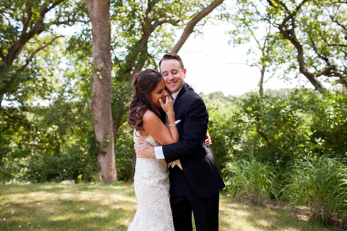 First look of wedding couple in summer at Weaver Ridge Golf Course Peoria, Illinois Wedding