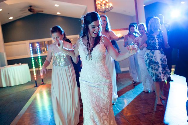 Bride dancing at Reception at Weaver Ridge Golf Course Peoria, Illinois
