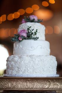 Wedding Cake at Wedding Reception at The Gateway Building Peoria, Illinois Wedding