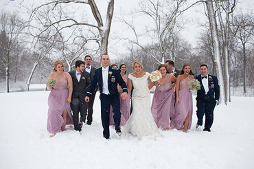 Bridal Party in the snow at Ravina on the Lakes Peoria, Illinois