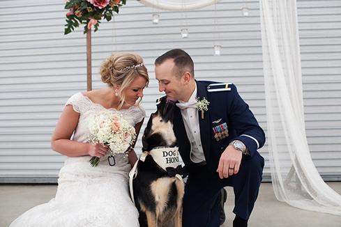 Bride and Groom with dog at wedding at Kickapoo Creek Winery Illinois