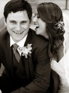 Happy Wedding Couple at Trinity Luthern Church Peoria Illinois Spring Wedding