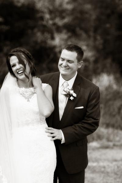 First look of bride and groom at Wildlife Prairie Park