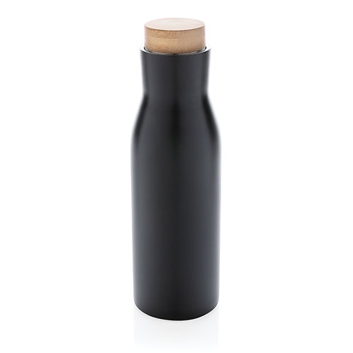 Botella al vacío antigoteo con tapa de acero negro