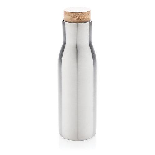 Botella al vacío antigoteo con tapa de acero gris
