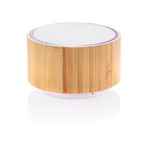 Altavoz inalámbrico de bambú marron, blanco