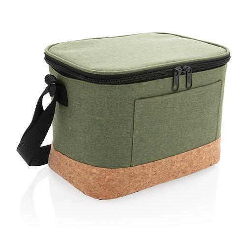 Bolsa y nevera bicolor con detalle de corcho verde