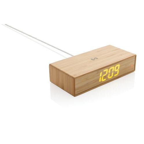 Despertador de bambú con cargador inalámbrico de 5W marron