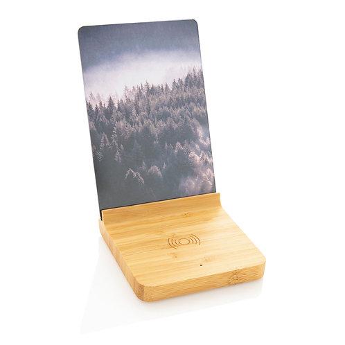 Cargador inalámbrico de bambú 5W con marco de fotos marrón