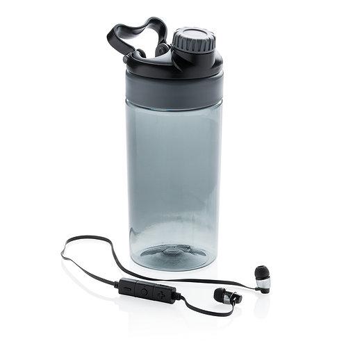 Botella antigoteo con auriculares inalámbricos gris, negro