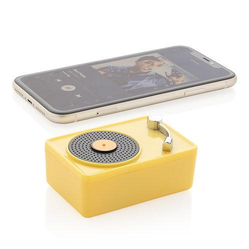 Mini altavoz inalámbrico 3W vintage amarillo, negro