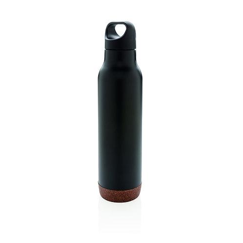 Botella al vacío de corcho antigoteo negro