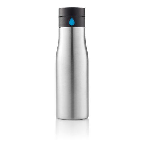 Botella de seguimiento de hidratación gris, azul