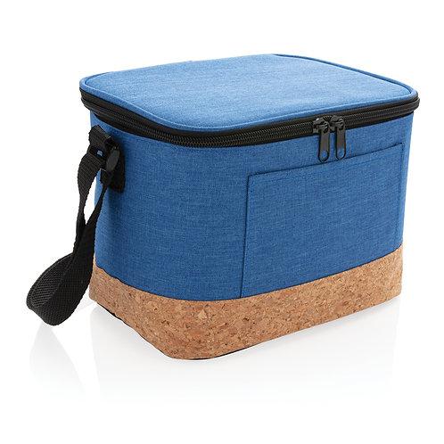 Bolsa y nevera bicolor con detalle de corcho azul