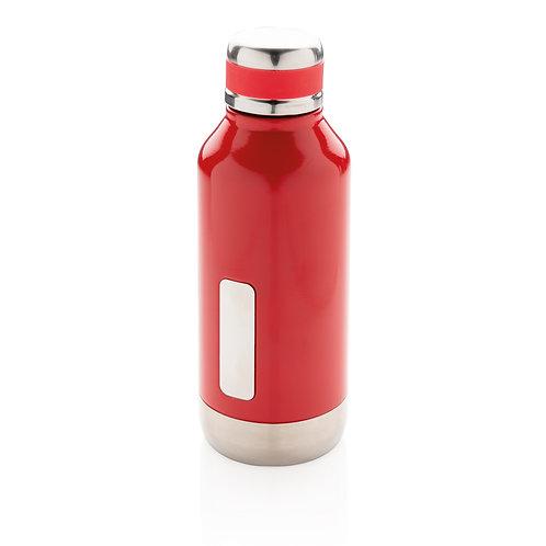 Botella al vacío antigoteo con placa para logo rojo