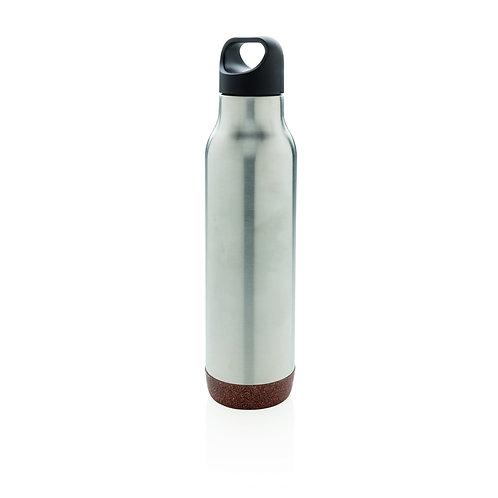 Botella al vacío de corcho antigoteo plata