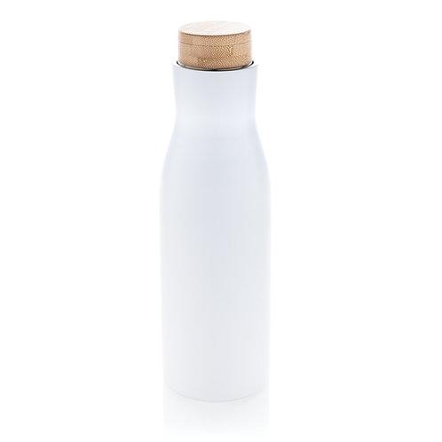 Botella al vacío antigoteo con tapa de acero blanco