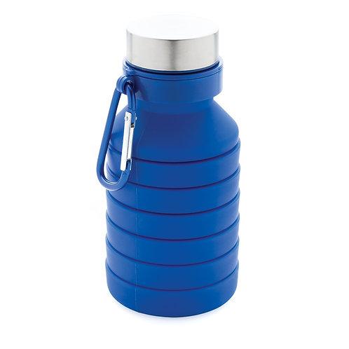 Botella de silicona plegable antigoteo con tapa azul