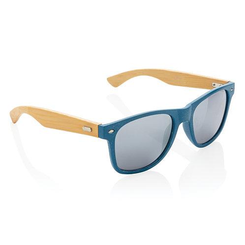 Gafas de sol de paja y bambú de trigo azul