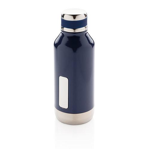 Botella al vacío antigoteo con placa para logo azul