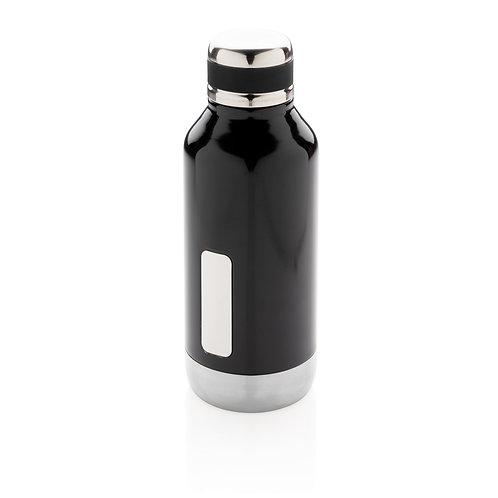 Botella al vacío antigoteo con placa para logo negro