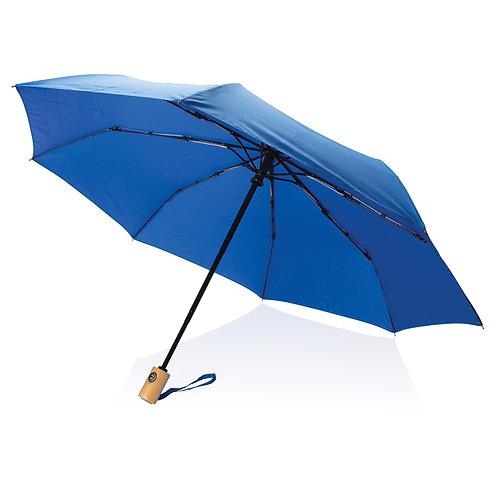 """Paraguas RPET de 21""""con apertura/cierre automático azul"""