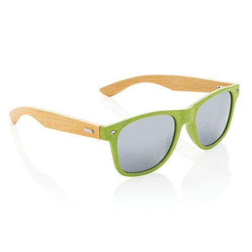 Gafas de sol de paja y bambú de trigo verde