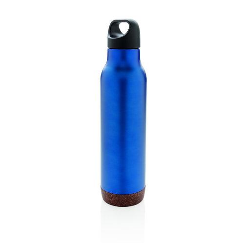 Botella al vacío de corcho antigoteo azul