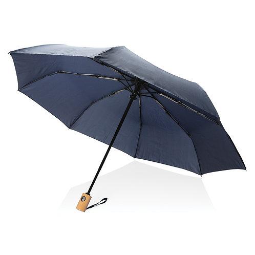 """Paraguas RPET de 21""""con apertura/cierre automático azul marino"""