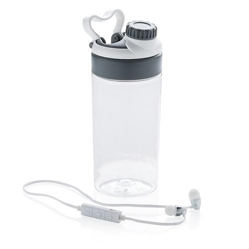 Botella antigoteo con auriculares inalámbricos blanco, gris